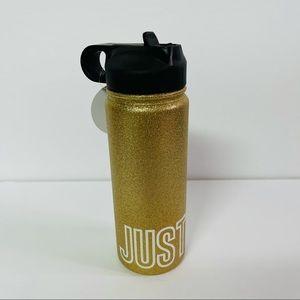 Justice gold glitter sport water bottle logo NWT